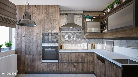 3d render of a domestic kitchen with wooden elements.