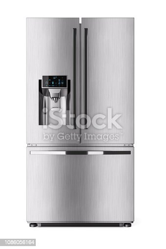 Modern domestic refrigerator with control display. 3d render