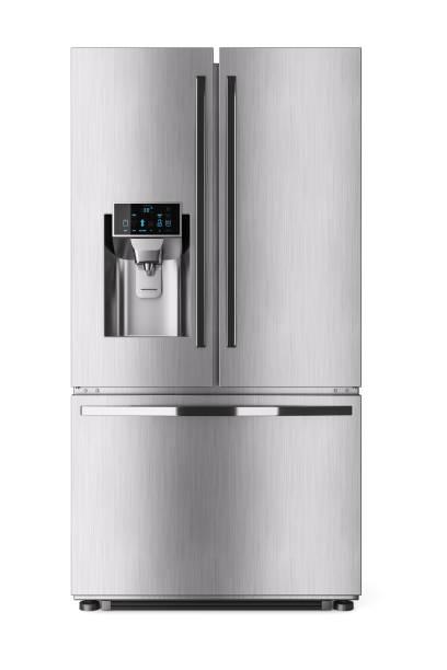 moderne binnenlandse koelkast met control display. - roestvrij staal stockfoto's en -beelden
