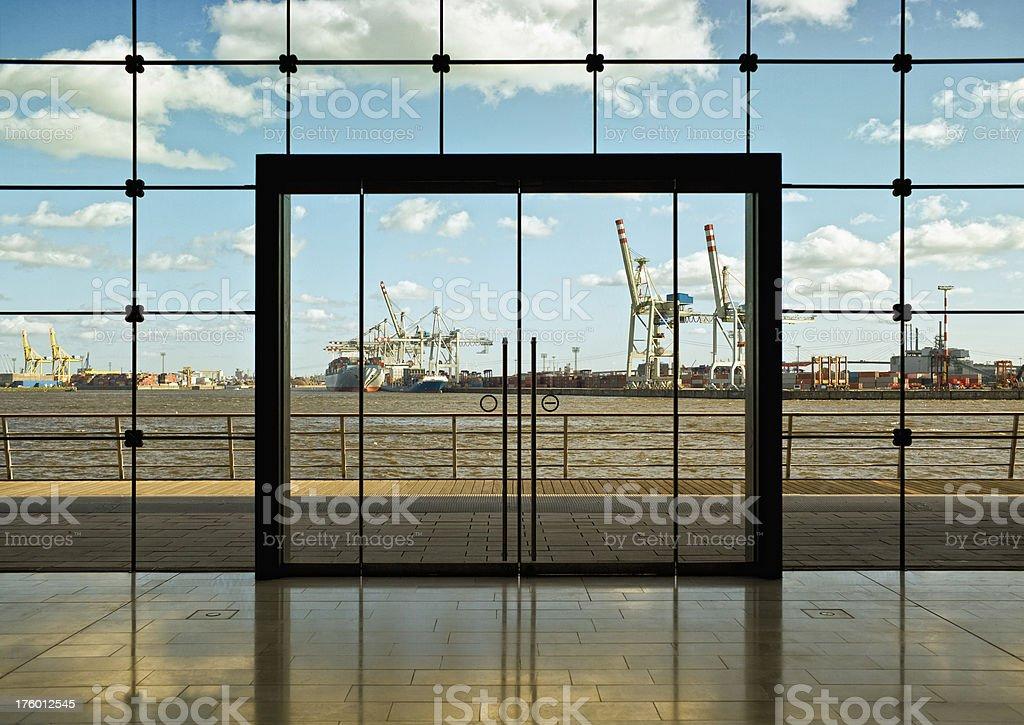 modern door to port hamburg stock photo