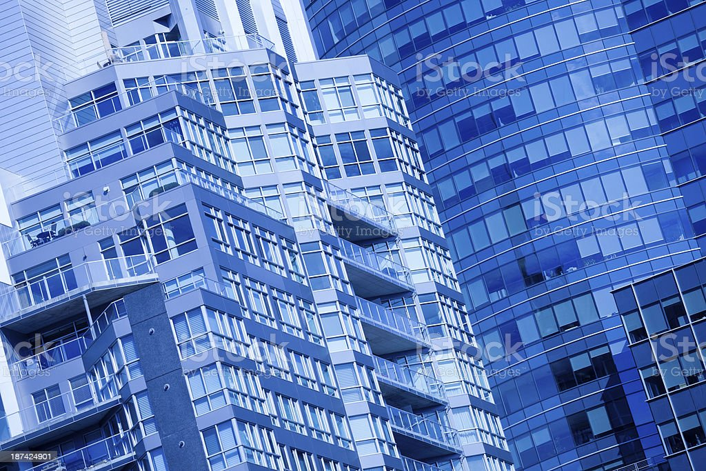 Modern downtown office building abstract tungsten blue royalty-free stock photo