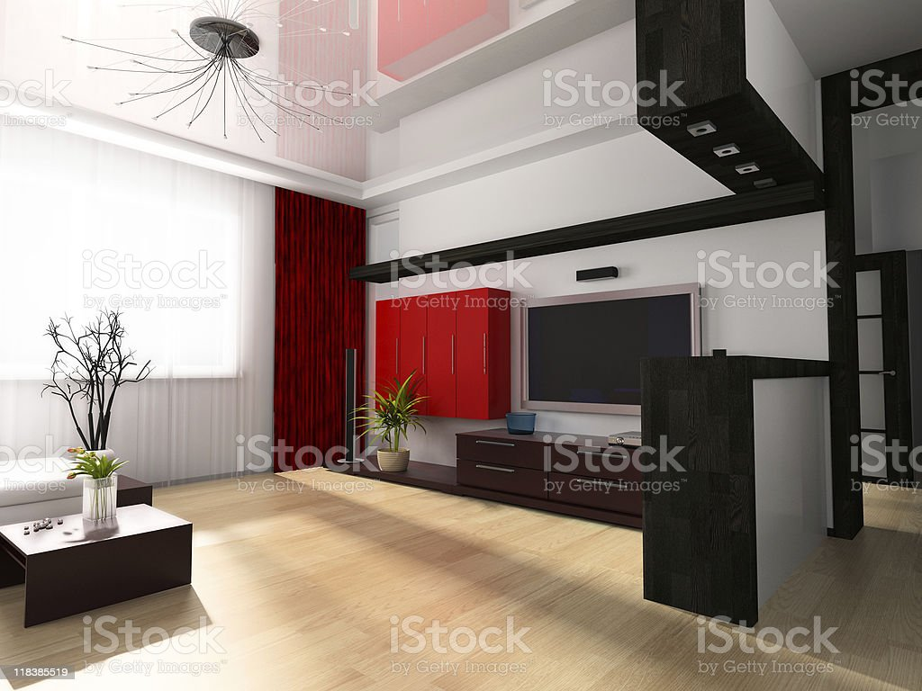 Modern drawing room stock photo