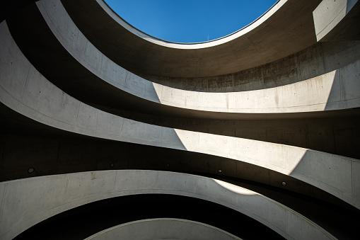 Modern driveway in a parking garage, Germany