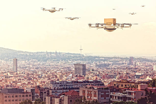 modern drone delivery - big brother orwellian concept stock pictures, royalty-free photos & images