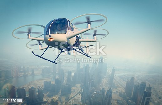 Modern drone flying over the city