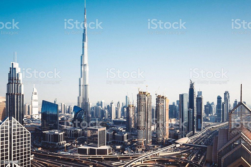 Modern Dubai Downtown District stock photo