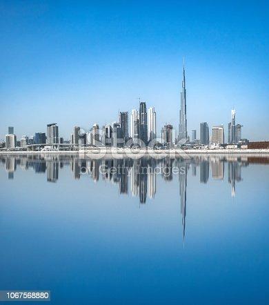 Modern Dubai Skyscrapers with Burj Khalifa tower Dubai, United Arab Emirate