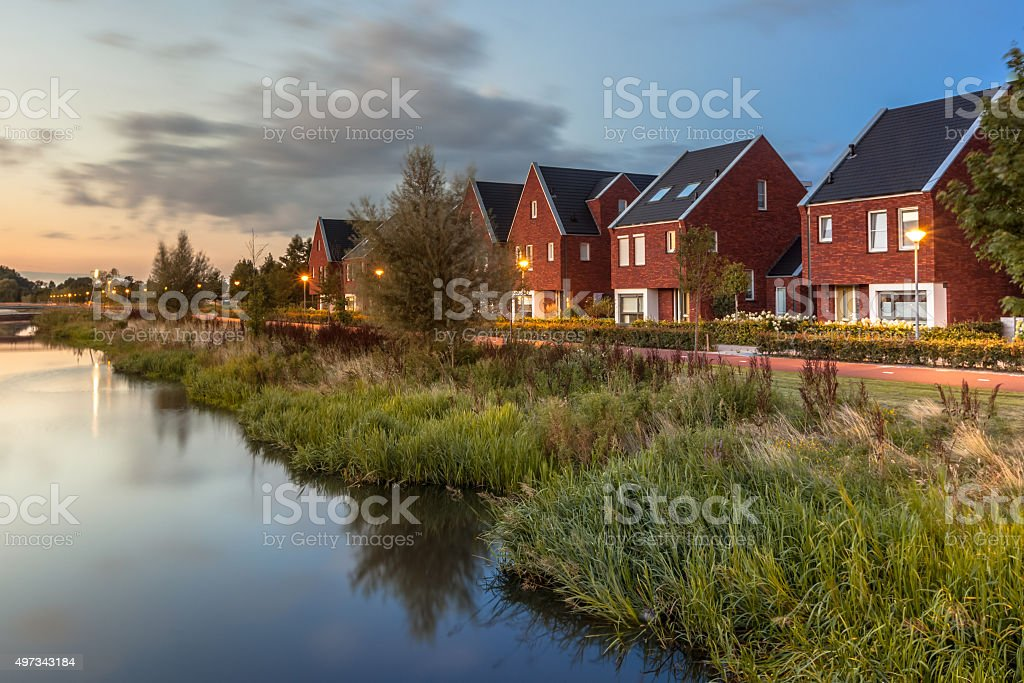 Modern Eco friendly suburban street stock photo