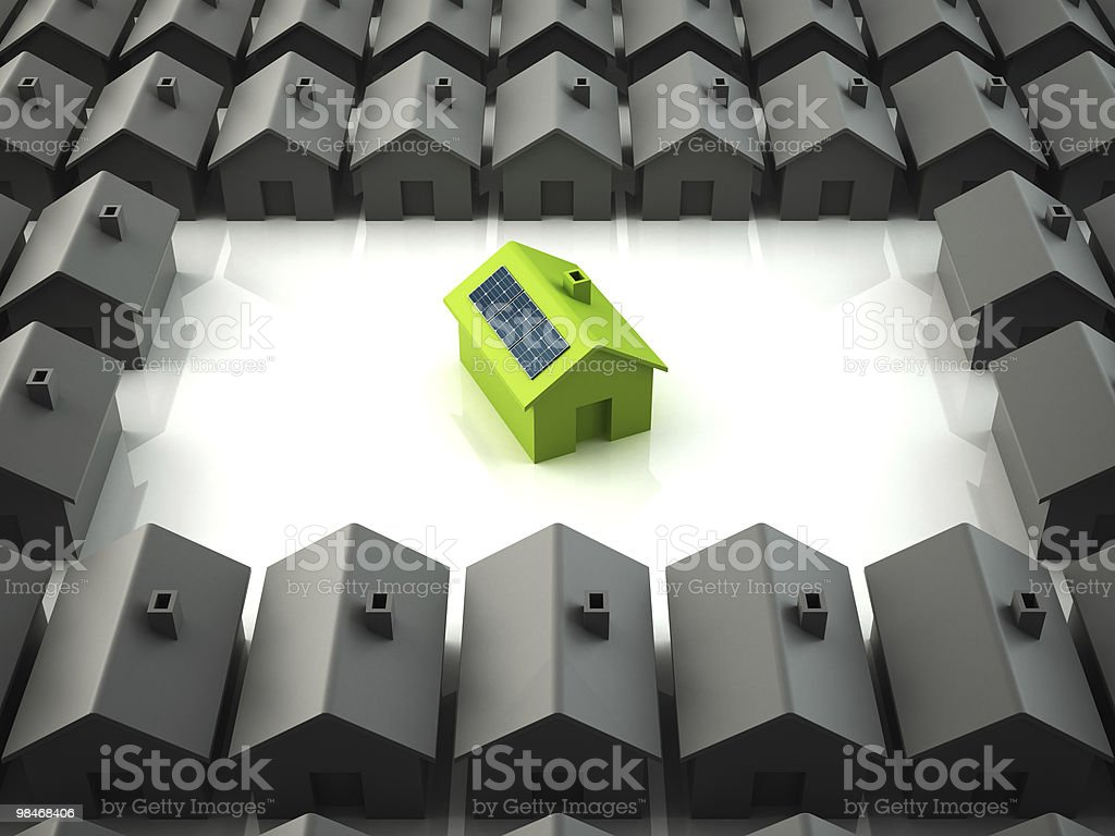 Modern eco house standing out from the others royalty-free stock photo