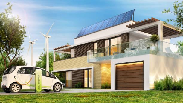 modern eco-huis met zonnepanelen en windturbines en een elektrische auto. - krachtapparatuur stockfoto's en -beelden