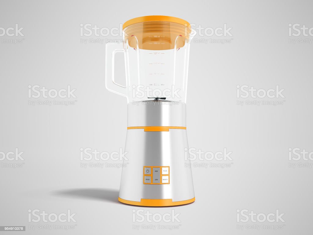 Modern electric blender with glass metal cup with orange inserts with multifunction buttons for control 3d rendering on gray background with shadow stock photo