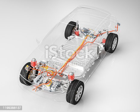 Modern electric car chassis x-ray vehicle battery in studio environment line art 3d render