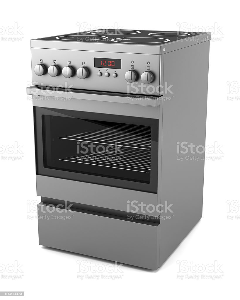 modern electric stove isolated on white background royalty-free stock photo