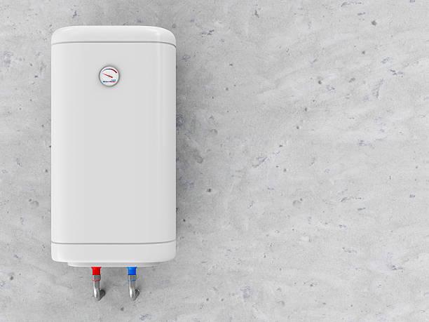 Modern Electric Water Heater on the Concrete Wall stock photo