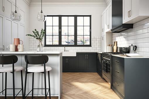 Interior design of elegant kitchen with black and white elements-  3d render