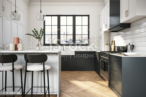 Interior design of elegant kitchen with black and white elements-  3d render