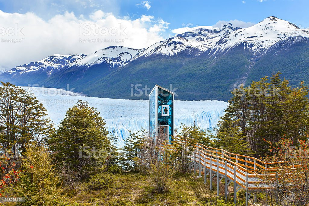 Modern elevator by Perito Moreno Glacier. stock photo