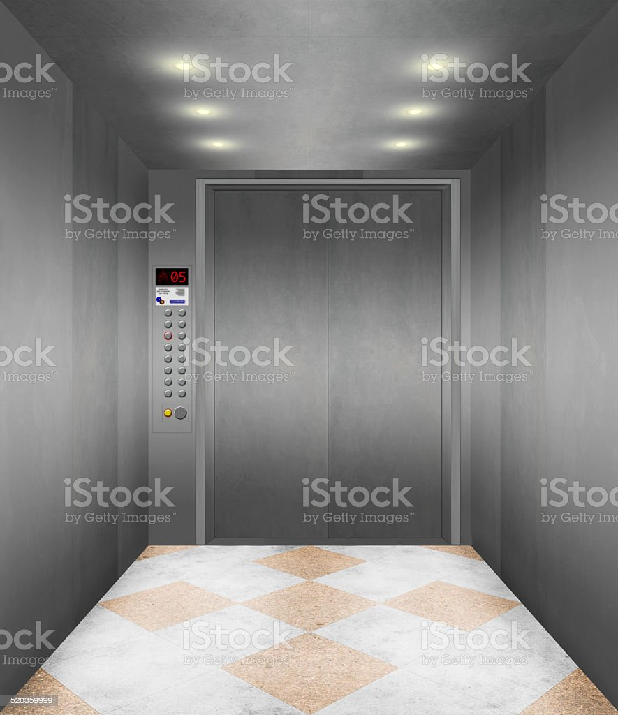 Superb Modern Elevator Interior Stock Photo