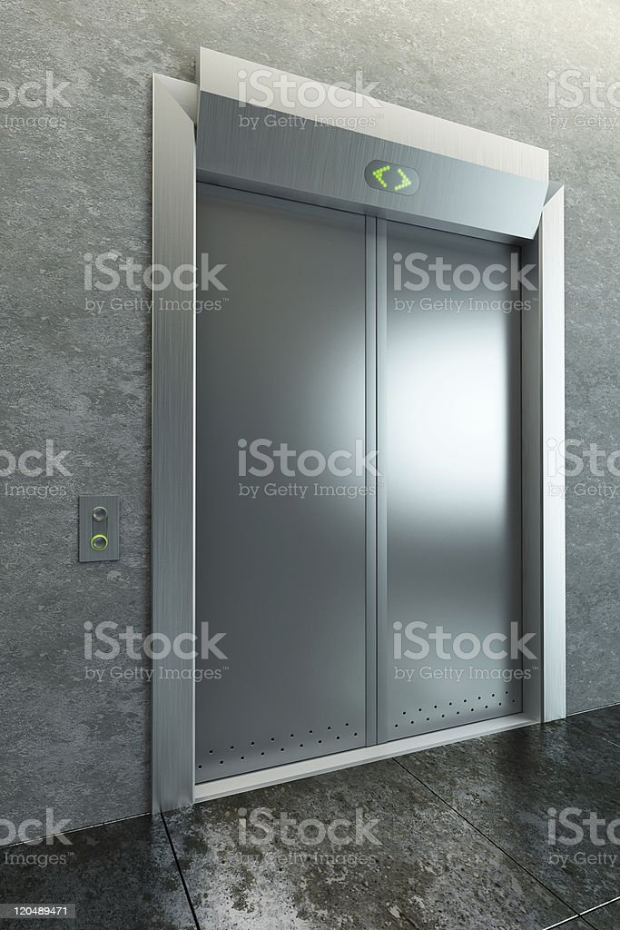 modern elevator with closed doors royalty-free stock photo