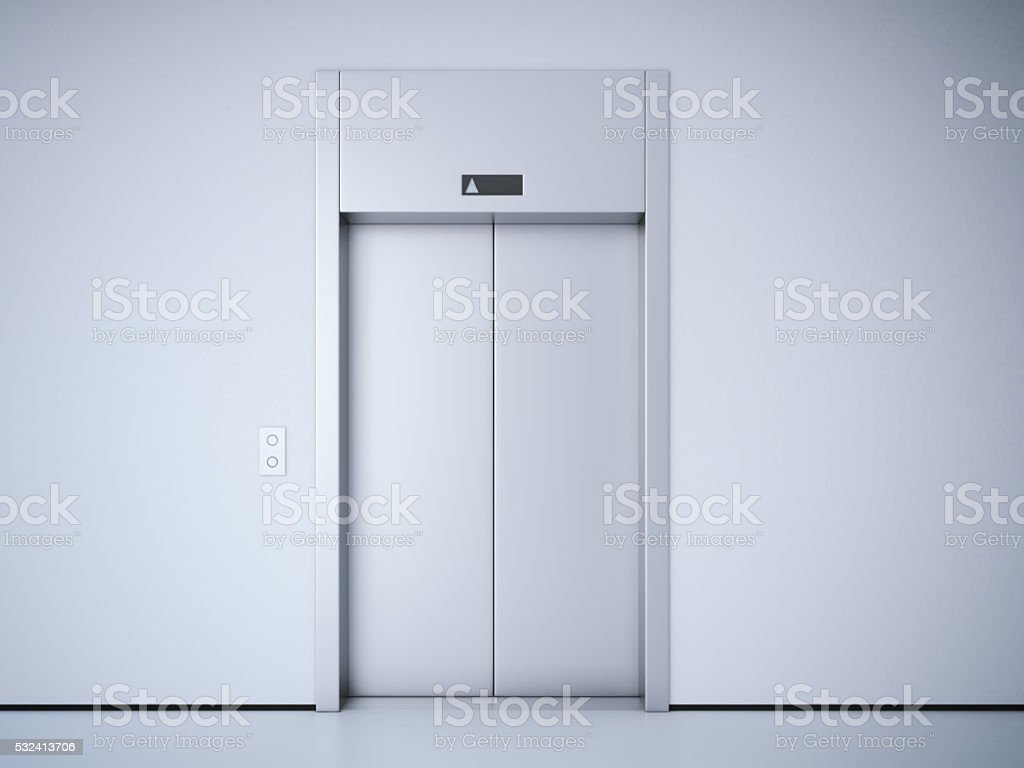 Modern elevator with metal  doors. 3d rendering stock photo