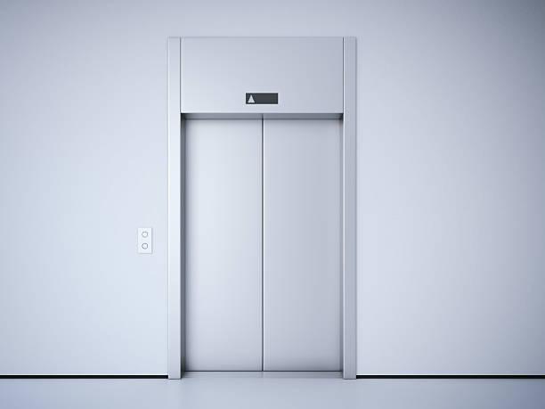 moderno ascensore con porte in metallo. rendering 3d - ascensore foto e immagini stock