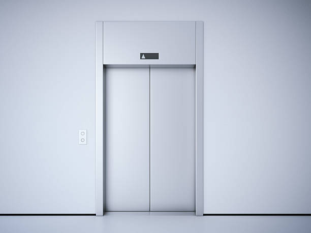 Moderne Aufzug mit Metall Tür. 3D-rendering – Foto