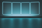 Modern empty abstract background illuminated by 4 rectangle frames blue neon lights with copy space, reflective floor and ceiling. 3D rendered image.
