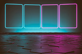 Modern empty abstract background illuminated by blue and pink rectangle neon lights / frames with copy space on reflective multicolored hexagon tiled floor. Ceiling and background faded in the dark. Slight vintage effect applied. 3D rendered image.