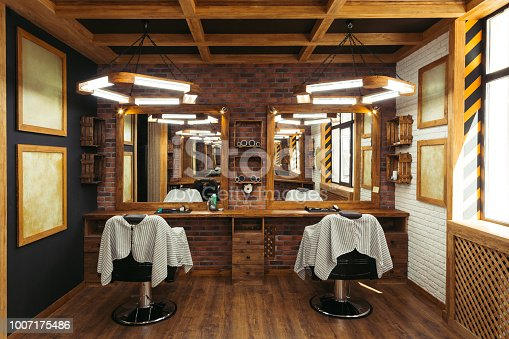 istock modern empty barbershop interior with chairs, mirrors and lamps 1007175486