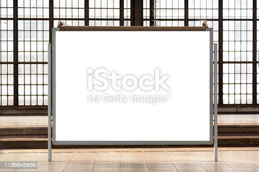 istock Modern empty blank advertising billboard at a railroad station. Mockup for your advertising project. 1139845859