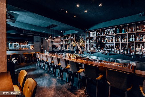 istock Modern empty cafe or night club, closed down during pandemic lockdown 1221884267