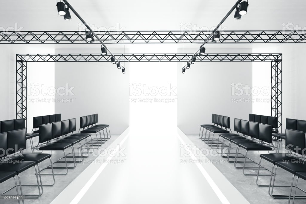 Modern empty fashion runway stock photo