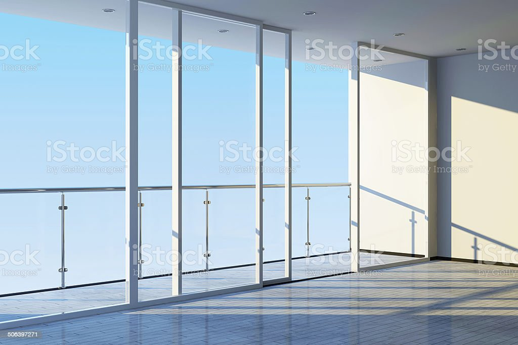 Modern Empty Interior with Large Windows and Terrace stock photo