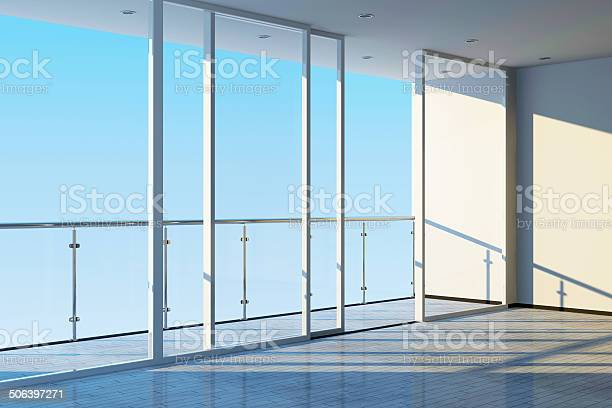 Modern Empty Interior With Large Windows And Terrace Stock Photo - Download Image Now
