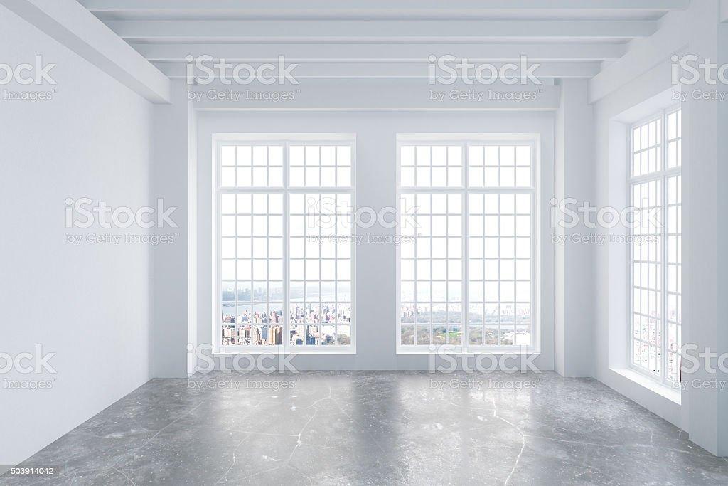Loft Fenster moderne leeren hellem loft zimmer und beton boden stock fotografie