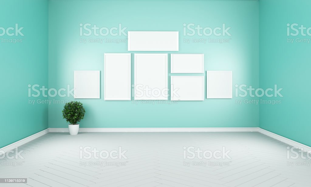 Modern Empty Living Room Interior Mint Wall Mockup Background 3d Rendering Stock Photo Download Image Now Istock
