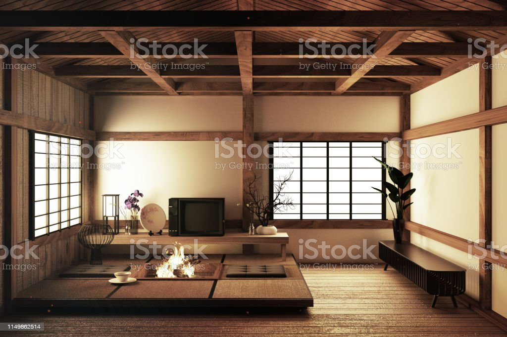 Modern Empty Living Room With Floor Tatami Mat And ...