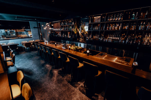 Modern empty night bar waiting for guests. stock photo