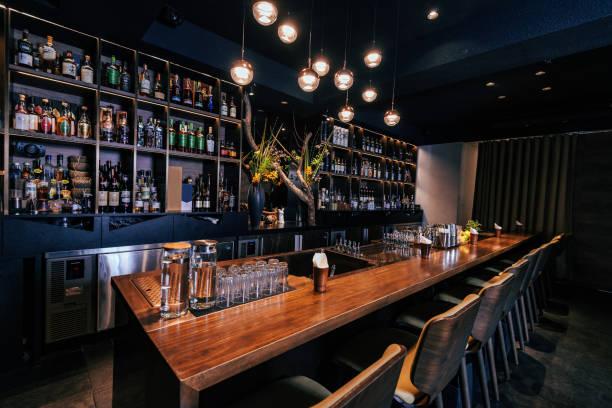 Modern empty night bar, wide angle shot stock photo