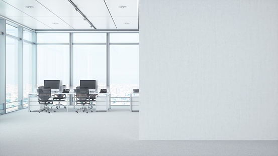 istock Modern Empty Office Room With White Blank Wall 807814018