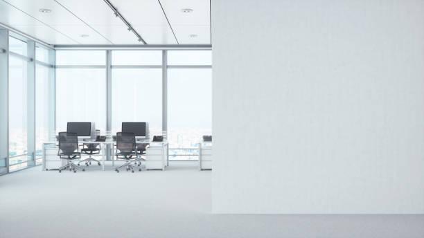 白い空白の壁とモダンな空室 - オフィス ストックフォトと画像