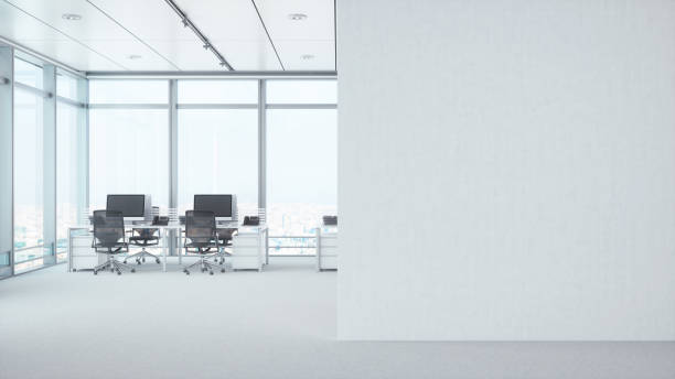 Modern Empty Office Room With White Blank Wall stock photo