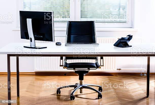 Modern empty office space desk with computer phone and chair picture id624626622?b=1&k=6&m=624626622&s=612x612&h=ioe9ksdd5iyx63ivvys8lvir8lrvshldmenuj 9nmte=