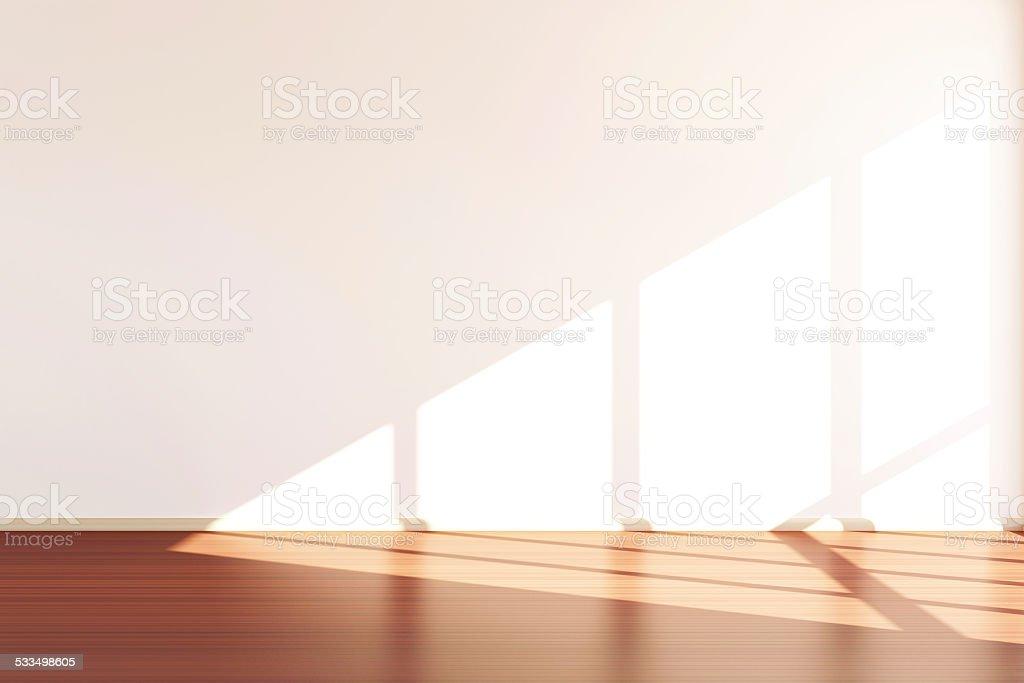 Modern Empty Room 3D Interior with Sunlight stock photo
