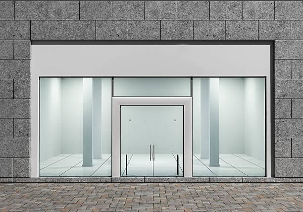 moderna vazio com janelas grandes de frente da loja - facade shop 3d - fotografias e filmes do acervo