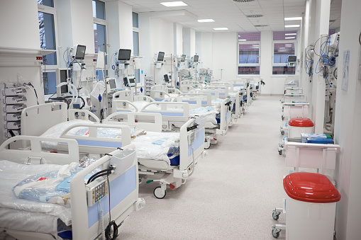 Modern empty temporary intensive care emergency room is ready to receive patients with coronavirus infection.