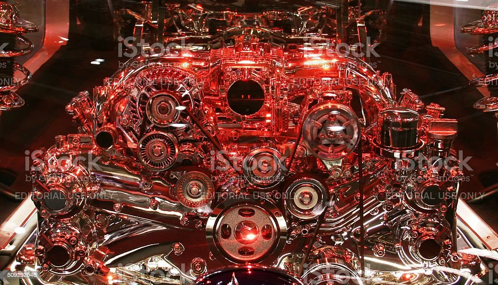 Modern engine on the motor show stock photo