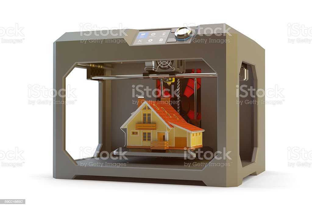 Modern engineering, prototyping, creating objects and printing technology concept stock photo