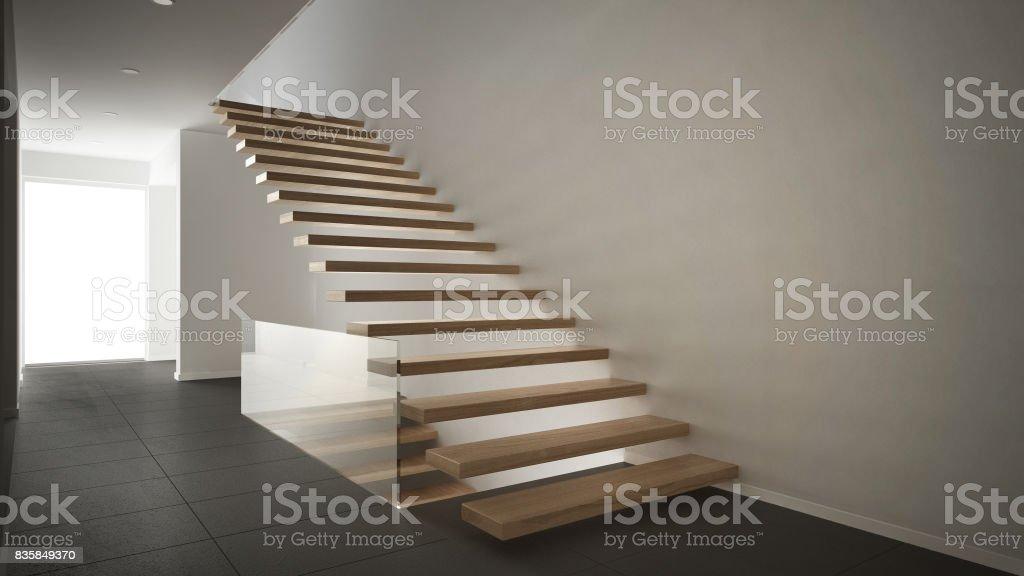 Hall Du0027accueil Moderne Avec Escalier En Bois, Décor Minimaliste Blanc Et  Gris Photo