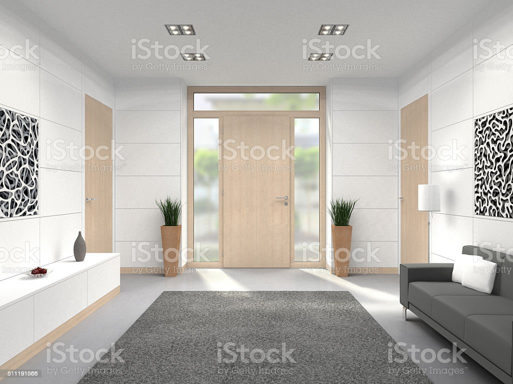 Modern entry hall interior stock photo more pictures of for Modern entrance hall